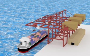 3D ocean transportation cranes