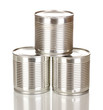 Tin cans isolated on white
