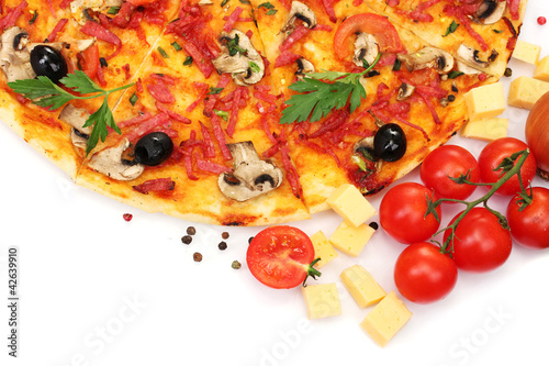 delicious pizza and vegetables isolated on white.