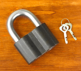 old padlock with keys on wooden background close-up