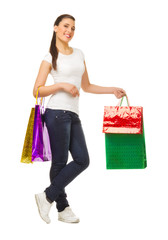 Young woman with bags