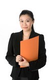 Asian Business Woman holding a folder