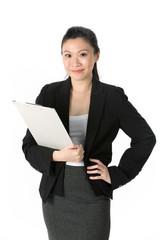 Asian Business Woman holding a folder