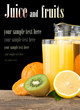fresh fruits juice in glass and slices isolated on black