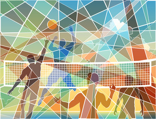 Volleyball mosaic