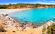 Cala Llenya in Ibiza with turquoise water in Balearic