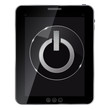 Glass power button icon on abstract tablet. Vector illustration