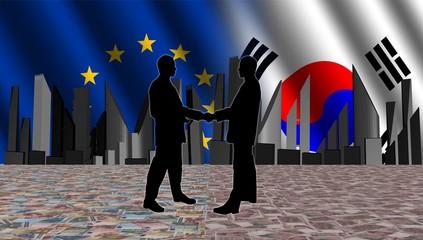 European South Korean meeting with skyline flags
