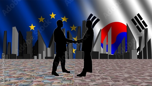 European South Korean meeting with skyline flags