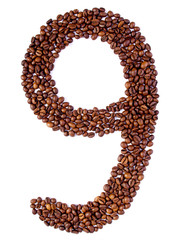 number 9 from coffee beans.