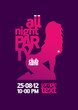 All Night Party design template with fashion girl