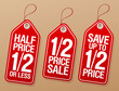 Half price save, promotional sale labels set