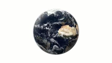 Erde dreht sich auf weißem Hintergrund ( Endlosschleife )