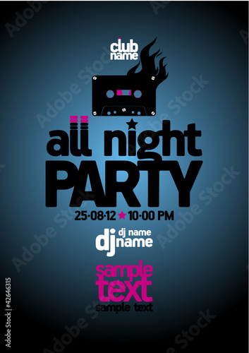 All Night Party design template