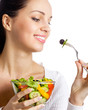Smiling woman with salad, on white