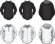 black white men's hoodie sweatshirt template