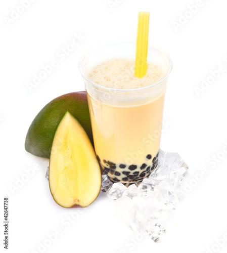 Leinwandbild Motiv Mango Boba Bubble Tea