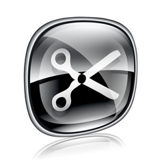 scissors icon black glass, isolated on white background.