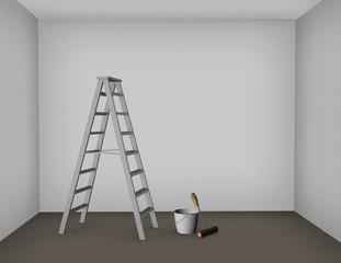 Pintando una habitación vacía con rodillo y pintura.