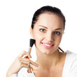Woman with cosmetics brush, isolated