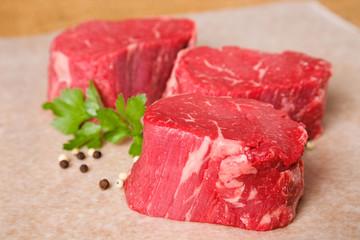 Raw Beef Tenderloin Steaks