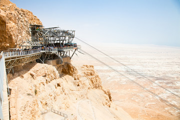Aerial tramway or cable car at the station on Masada