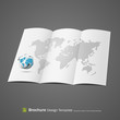 Brochure design with globe and world map. vector