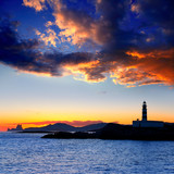Ibiza island sunset Freus lighthouse and Es Vedra