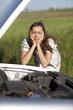 Frau und Auto kaputt