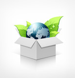 Globe and green leaf in recycle white box. vector