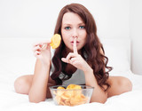 Fototapety woman with chips