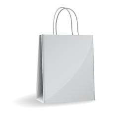 Vector illustration of gray paper bag