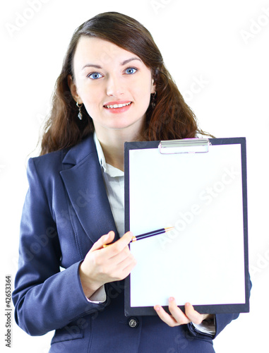Portrait of a cute young business woman with the
