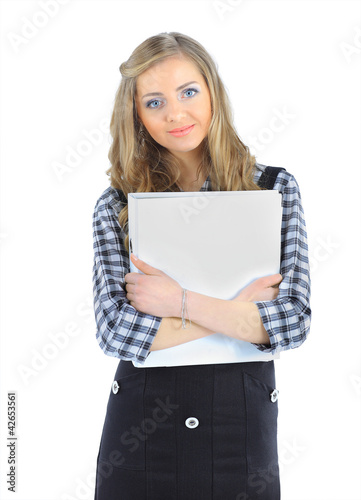 beautiful business woman on a white background