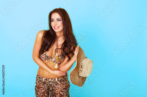 Happy sexy woman in summer outfit