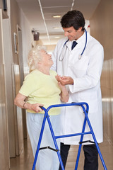 Doctor and Woman with Zimmerframe