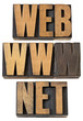web, www, net  words in wood type