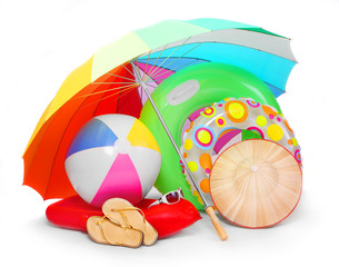 Beach umbrella and articles for happy holidays.