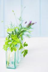 Jars of fresh herbs - focus on parsley