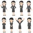 ブラックフォーマルを着た女性のポーズ集