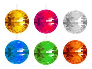 abstract colorful disco balls set