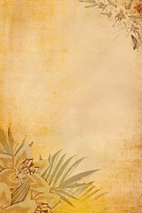Grunge paper background with flowers.