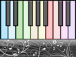 Nice music background with a colorful piano keyboard