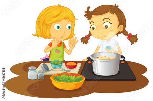 a girls cooking food
