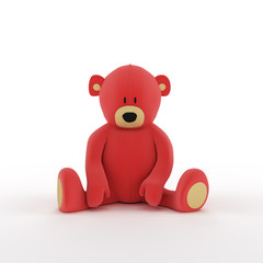 plush red teddy bear isolated on white background