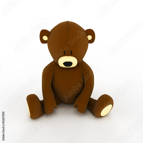 plush brown teddy bear isolated on white background
