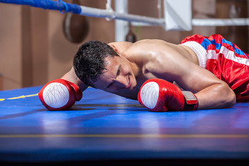boxer lying knocked out in a boxing ring