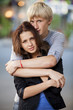 Young teen couple on the street