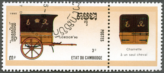 CAMBODIA - 1990: shows mail coac