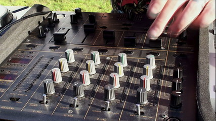 DJ console at the open air party.
